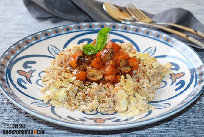 Bulgur de avena con calabaza y champiñones Portobello